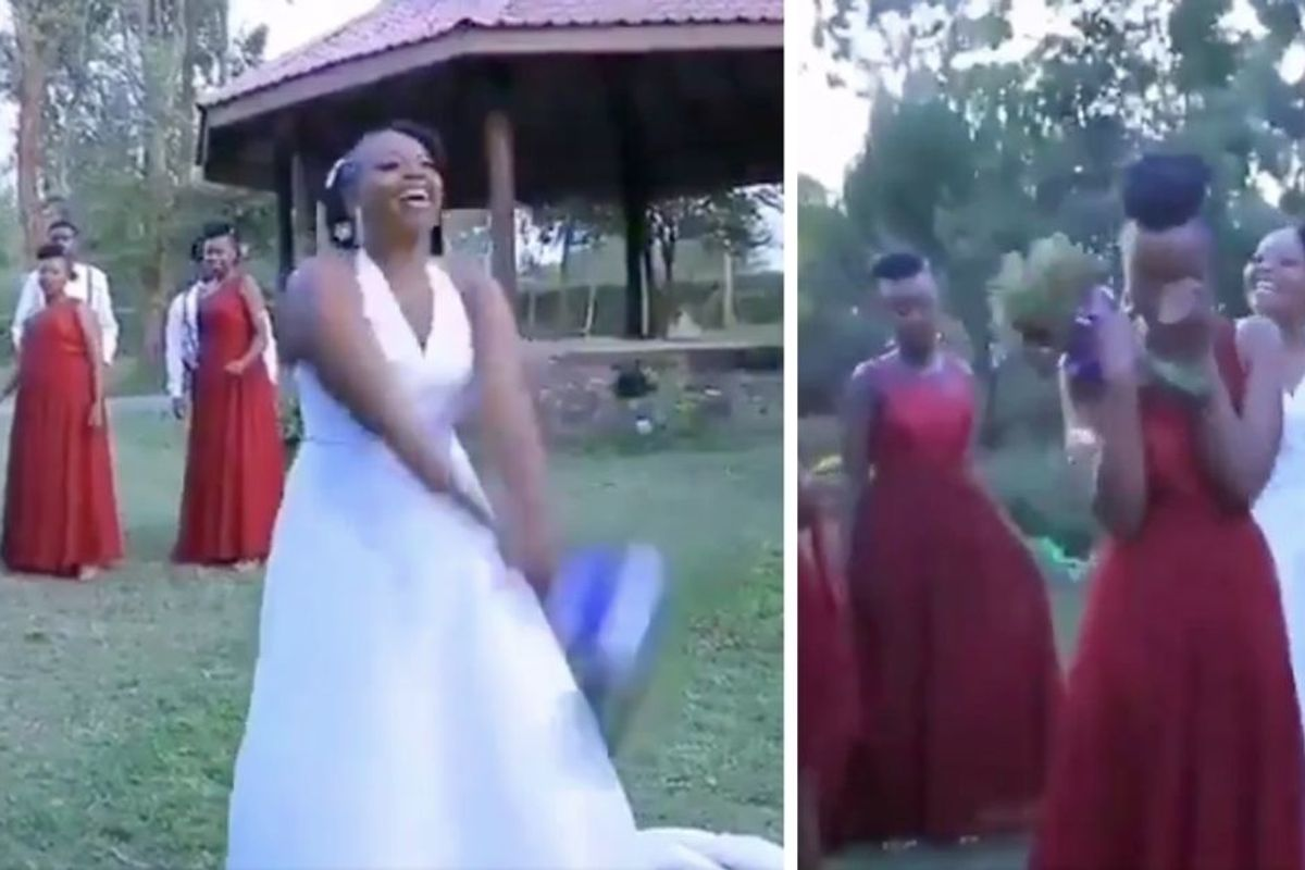 A bride's bouquet toss 'plot twist' has people all up in their feelings