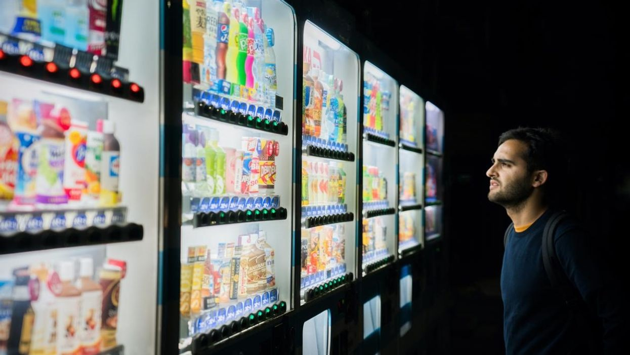 choosing from vending machines