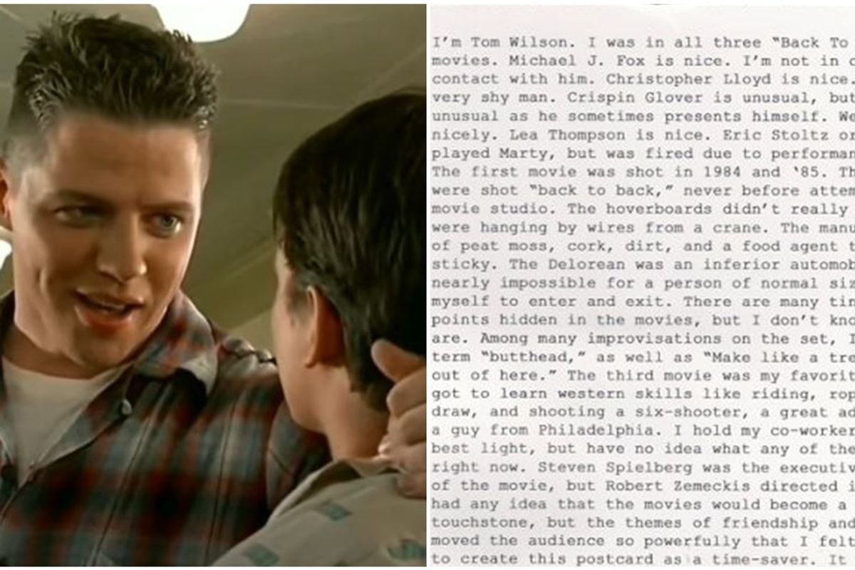 'Back to the Future' actor has a hilarious card for fans with questions about the movie
