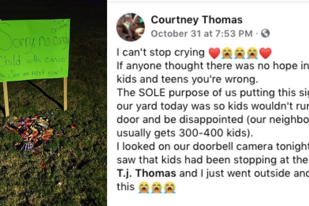 "Family put out a ""Sorry, no candy"" sign and got the most heartwarming response in return"
