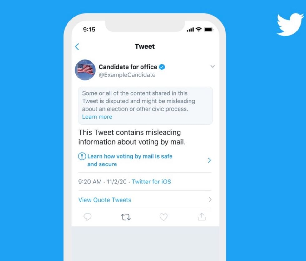 Twitter will slap a warning label on tweets claiming election results before they're officially declared