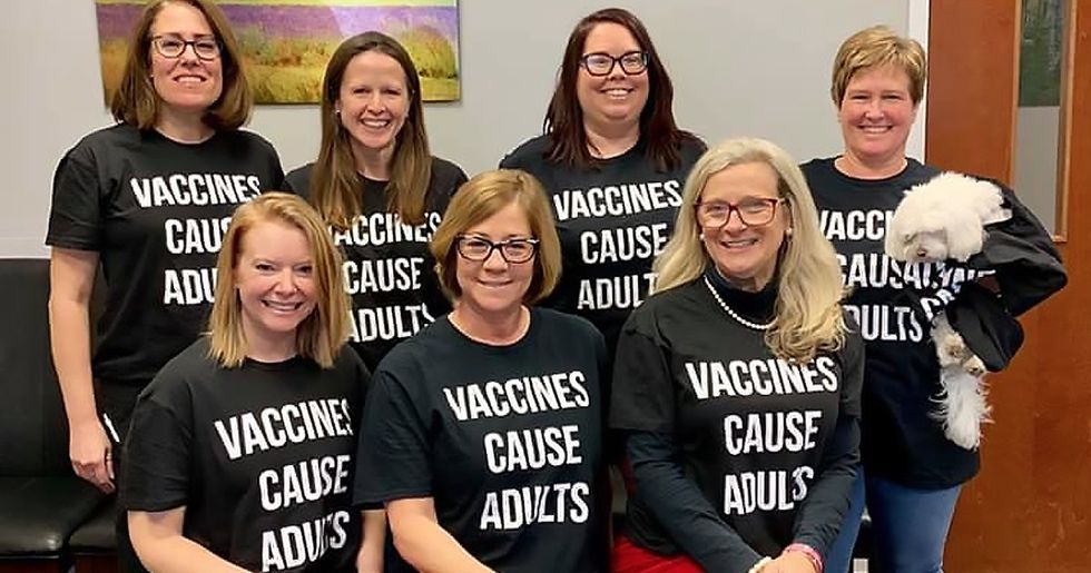 Staff at Pediatrician's Office Wears Hilarious Shirts Promoting Vaccinations