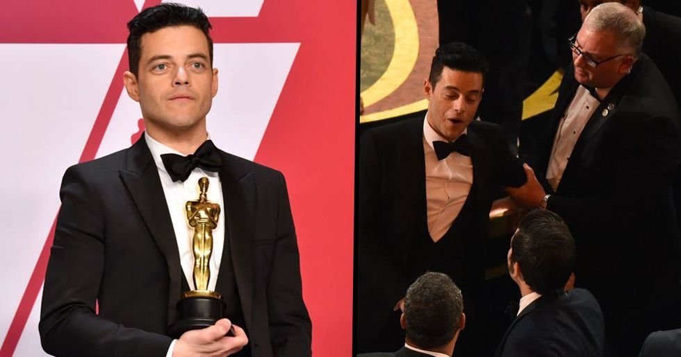 Rami Malek Treated by Paramedics After Falling off the Stage at The Oscars