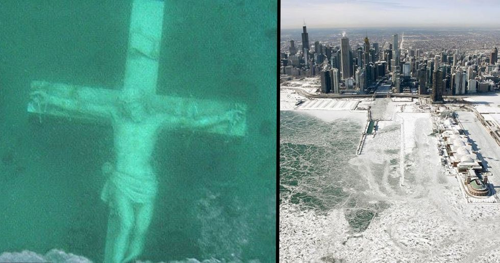 Thousands Go To See Huge Underwater Jesus Visible Under Frozen Lake Michigan