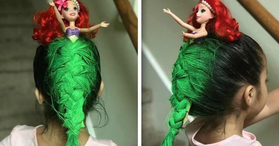 This Mom Literally Turned Her Daughter's Hair Into a Mermaid for 'Crazy Hair' Day at School