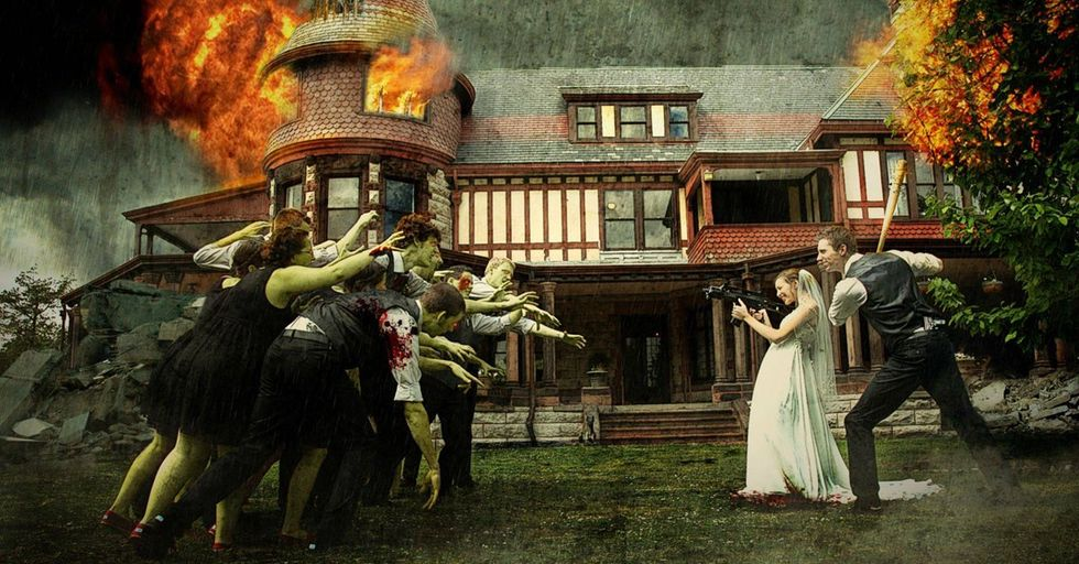 The Newest Trend Is Photoshopping Zombies and Dinosaurs Into Your Wedding Photos