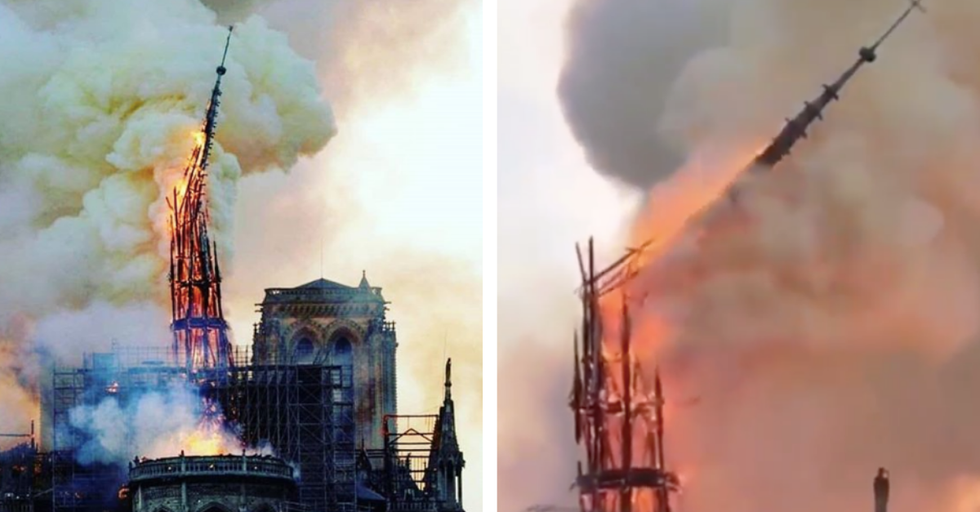 Historic Spire of Notre-Dame Cathedral Has Collapsed Into the Fire
