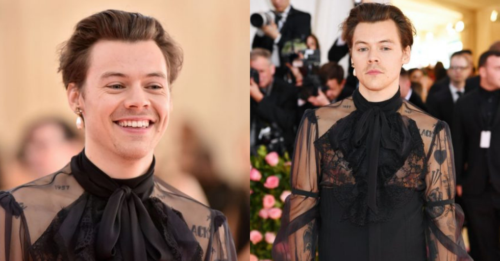 Harry Styles Wore a Sheer Blouse and Pearl Earrings to the Met Ball