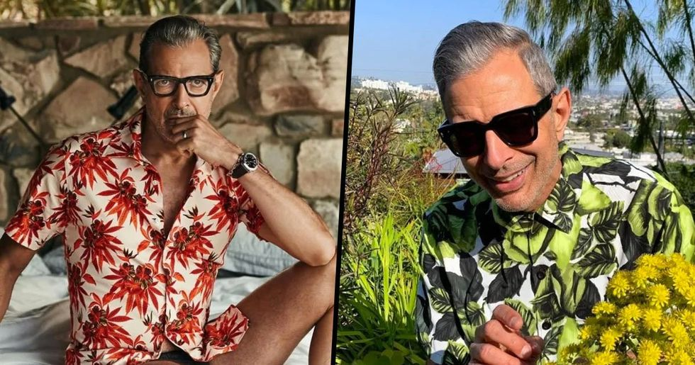 17 Pictures of Jeff Goldblum Wearing Printed Shirts That Prove He's A Thirst Trap