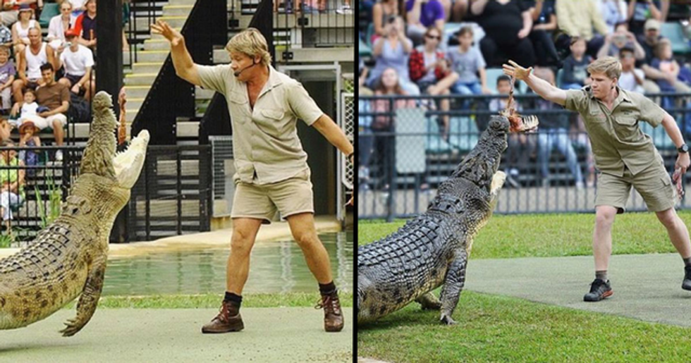 Steve Irwin's Son Recreates Photo of His Dad With Same Crocodile in the Same Place 15 Years Later