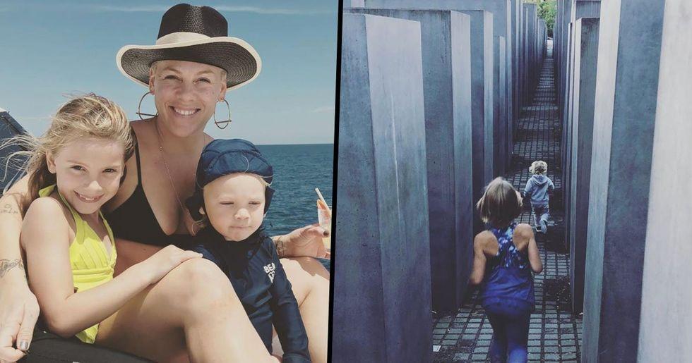 Pink Defends Controversial Instagram Posts of Her Children at Holocaust Memorial