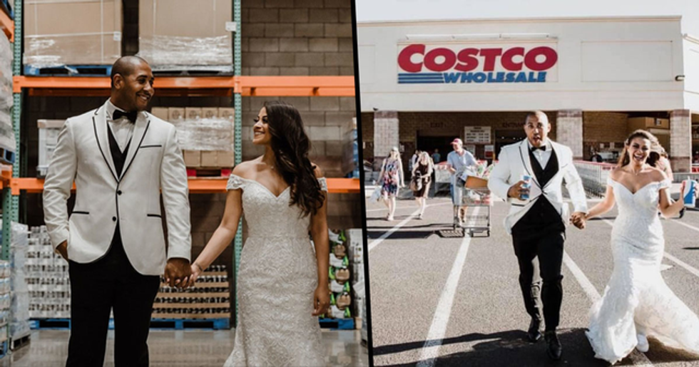 Couple Take Wedding Photos at Costco Aisle Where They Met and the Pictures Are Surprisingly Beautiful