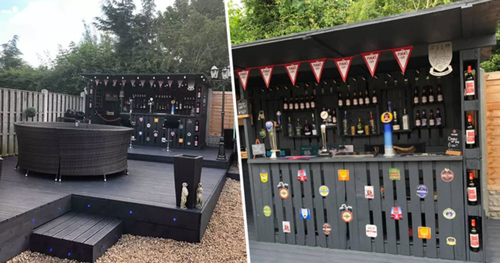 Man Builds Bar in Back Yard Using Wooden Pallets for Just $120