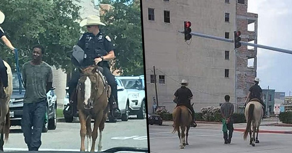 Texas Cops Pictured on Horseback Leading Handcuffed Black Man Through Streets by a Rope