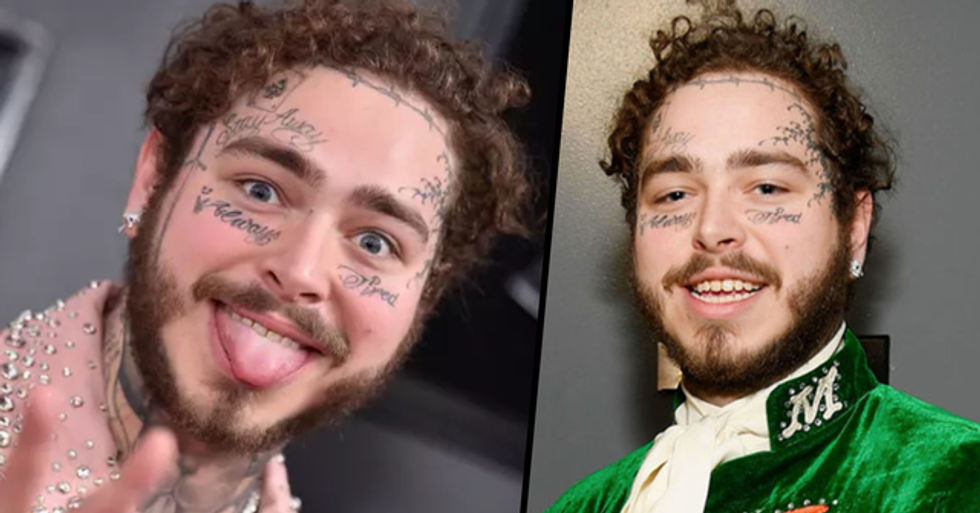 Post Malone Looks Completely Different Without Long Hair and Face Tattoos