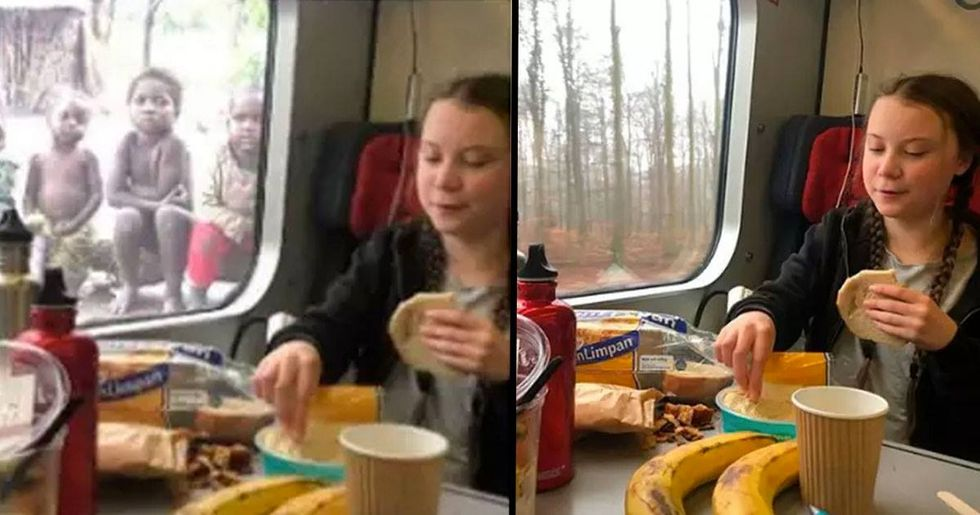 Fake Photo Of Greta Thunberg Eating Lunch Next To Poor Children Sparks Outrage