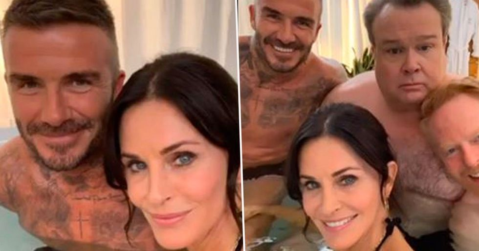 Fans Point out What Courteney Cox's Hand Is Doing in David Beckham Selfie