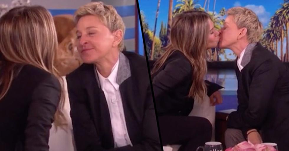 Jennifer Aniston Shares Kiss with Ellen Degeneres on Live TV