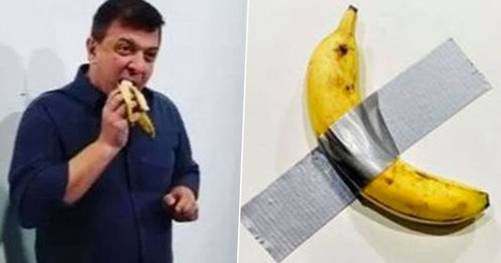 Guy Peels $120,000 Banana off Gallery Wall and Eats It