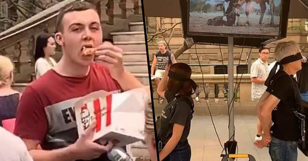 Guy Feasts on KFC in Middle of Vegan Protest