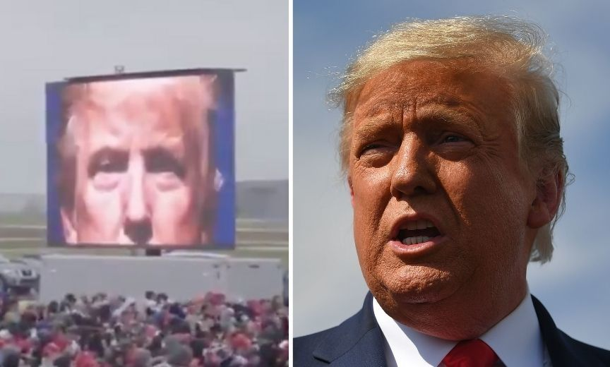 Trump Just Unveiled a New Disturbing Campaign Video at a Rally and, Yeah, Kim Jong Un Would Be Proud