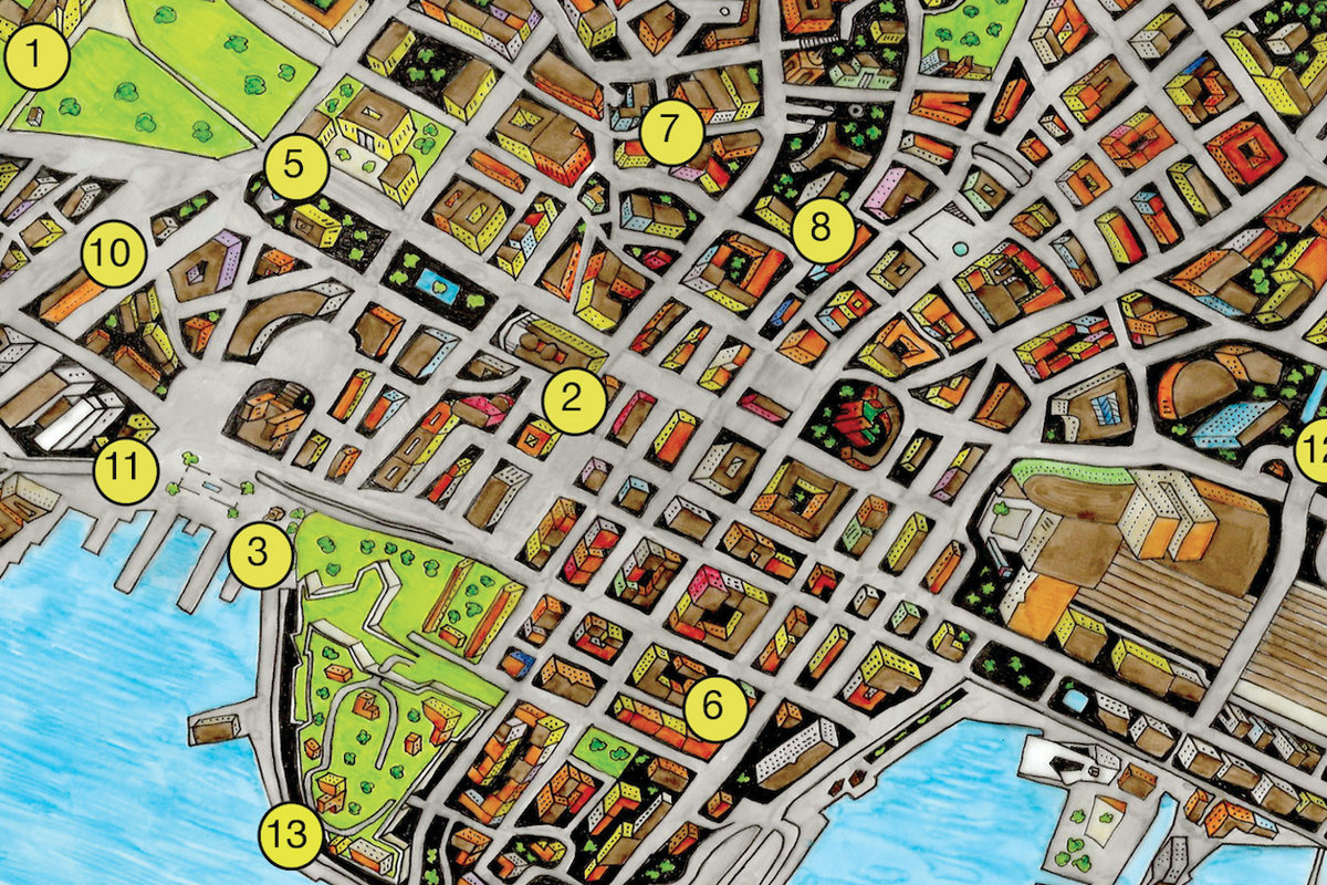 A normal tourist map,  but everything is negative