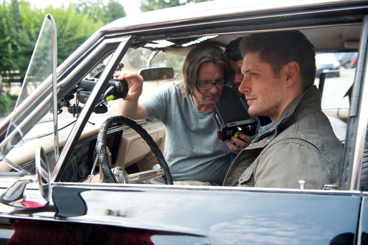 A behind-the-scenes shot from the Baby-centric episode of Supernatural