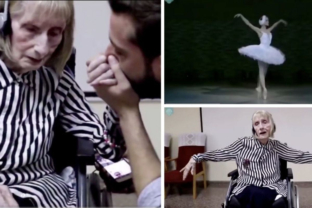 A former ballerina with Alzheimer's hears 'Swan Lake' and bursts into dance in her wheelchair