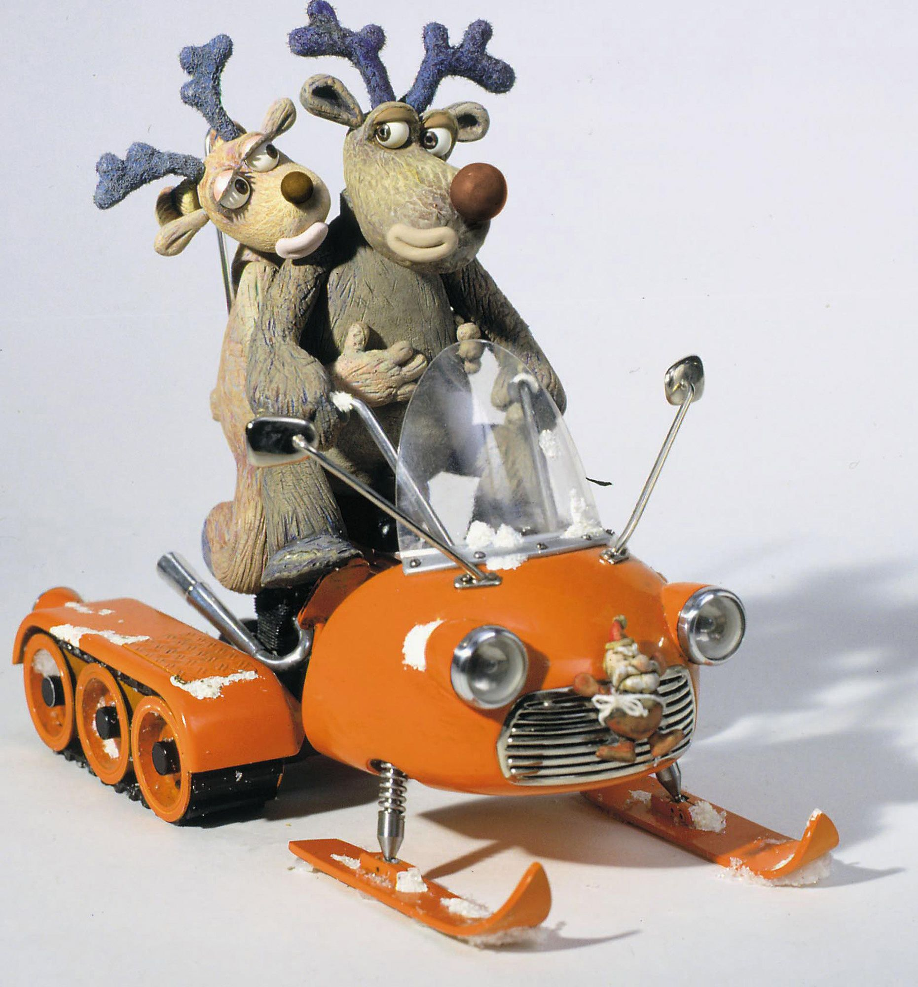 Robbie the Reindeer on a snowmobile