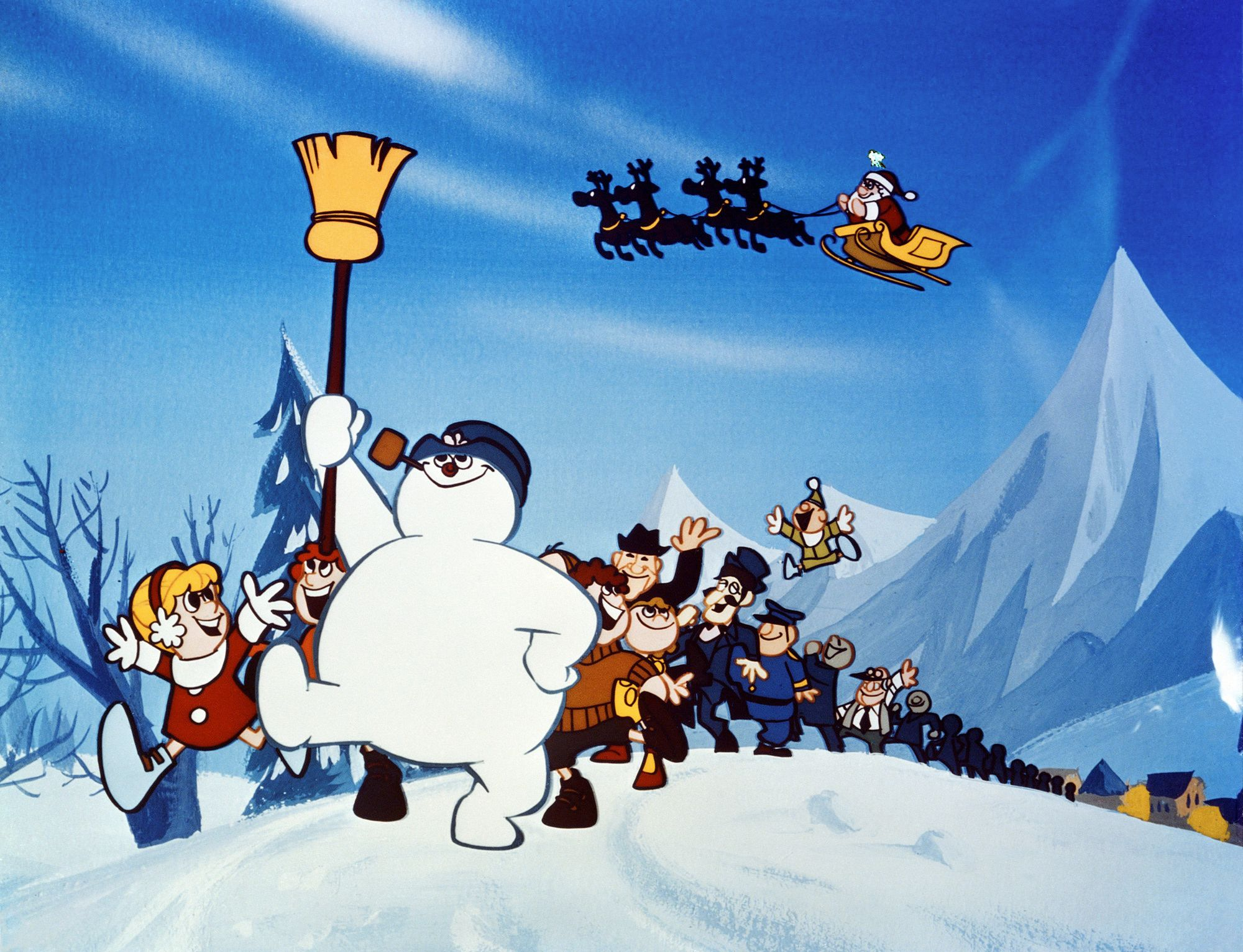 Frosty the Snowman leads a line of villagers