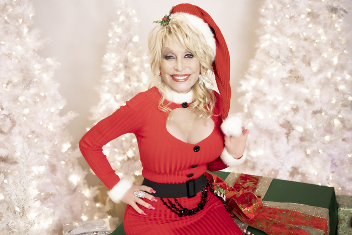 Dolly Parton in a festive outfit