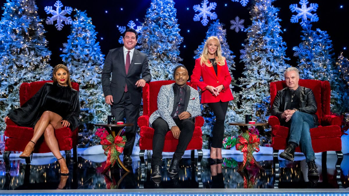 The hosts and judges of The Christmas Caroler Challenge