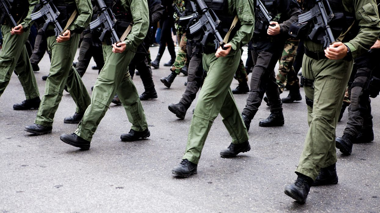 Soldiers marching in unison