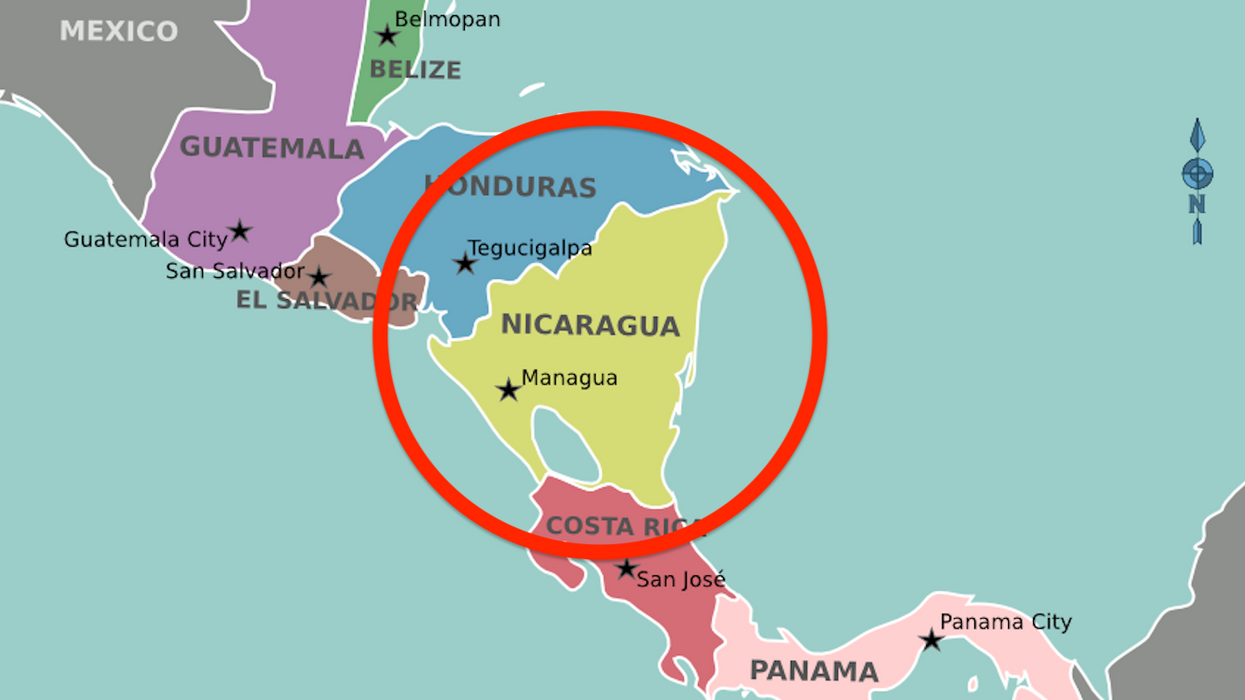 Nicaragua is the most triangular country in the world