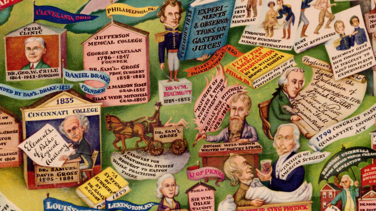​Excerpt from 'Medical Events in North America' (1950), a map depicting major figures, institutions and events in the medical history of North America.