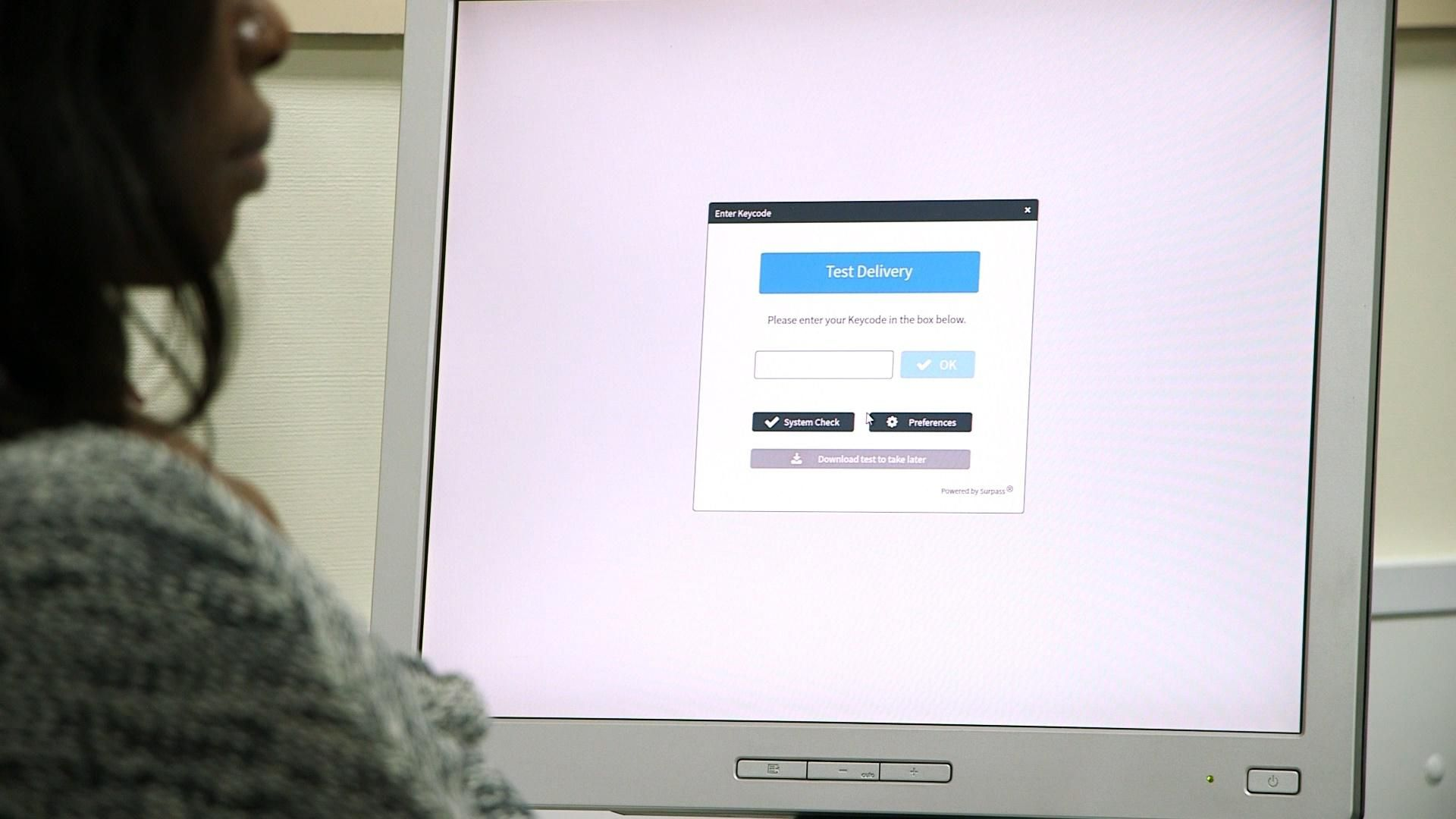 Woman using testing software