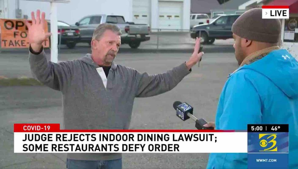 'Wake up! Stand up! This is America!': Restaurant owner interrupts news broadcast, urges resistance to COVID-19 state 'tyranny'