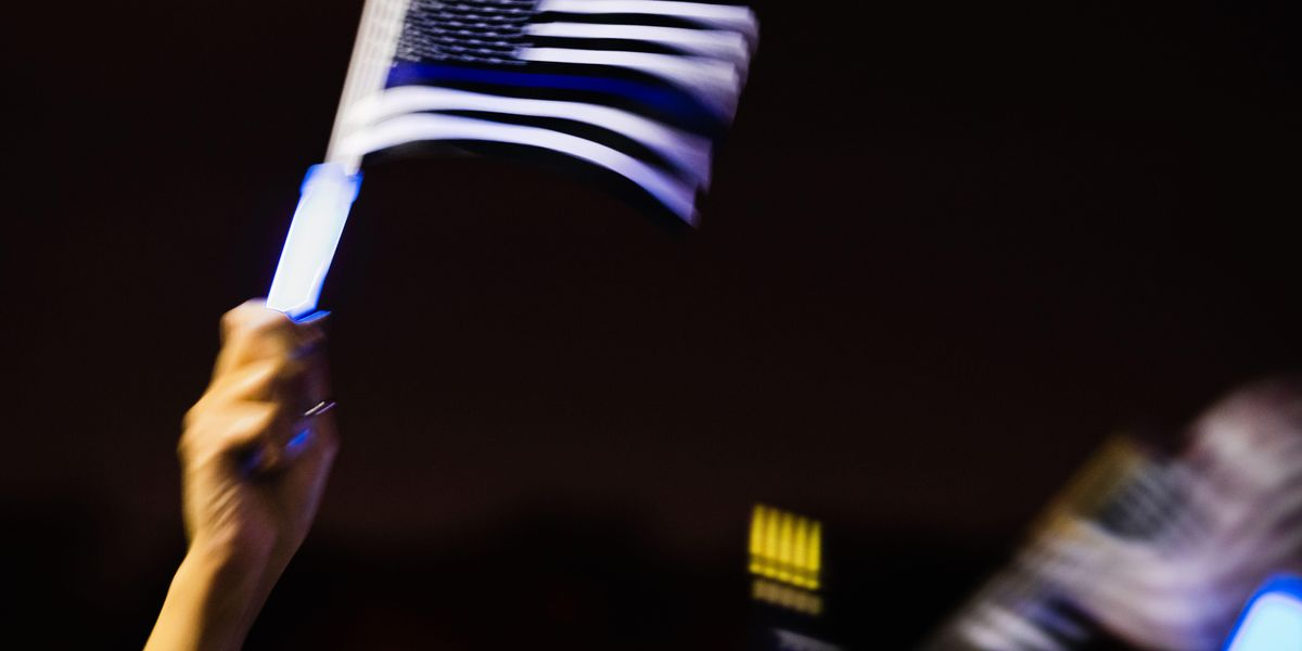 Woke mob comes for university police department that dared to put a 'thin blue line' flag on the wall. Department doesn't back down.