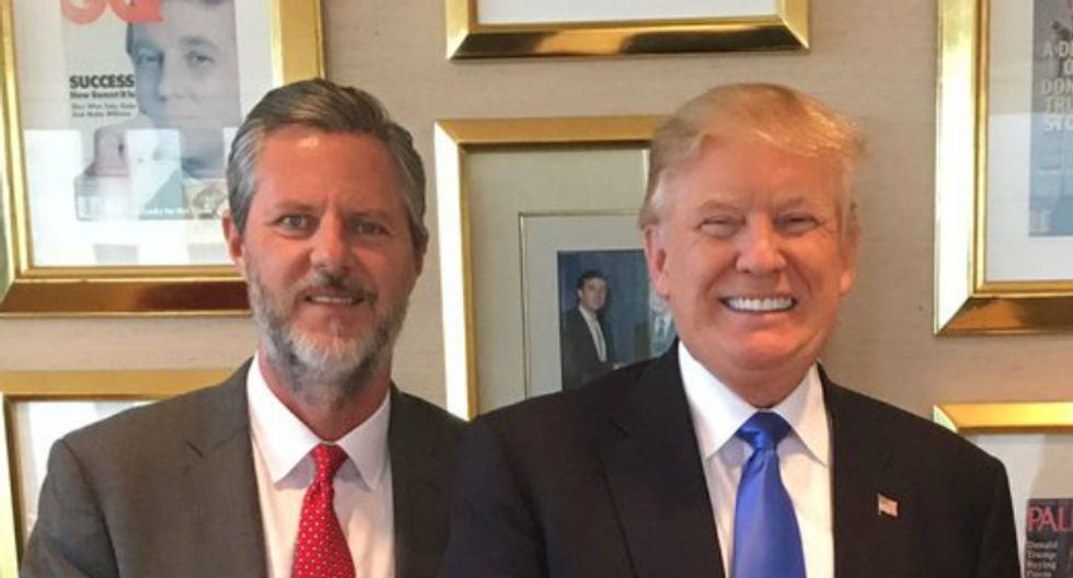 The bizarre vacation photo Jerry Falwell Jr. posted -- and then quickly deleted