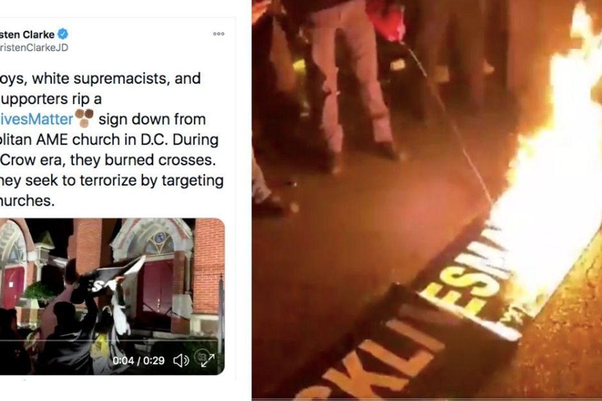 Proud Boys tore down, stomped on, and set fire to Black churches' BLM signs—and it's barely news
