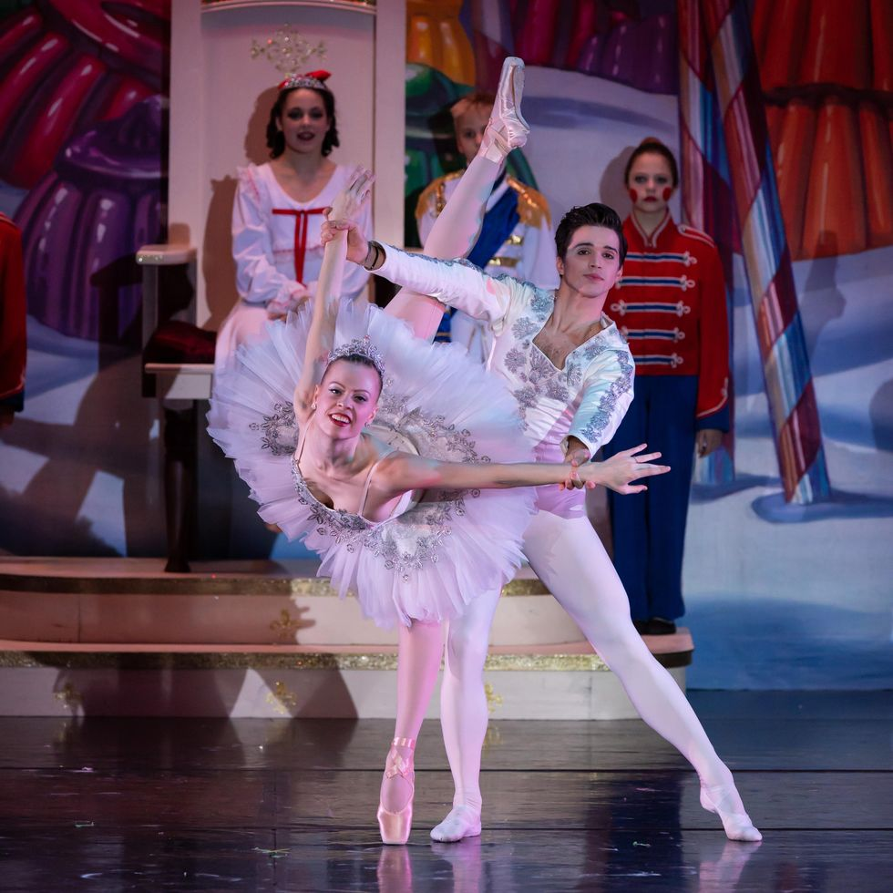 A ballerina in a sparkly white tutu, pink tights and pointe shoes performs a pench\u00e9 arabesque on her left leg and presses her arms back. Sign up here stay up to date with ABT news and offers! Since then, she's spoken openly about racism in the dance world.