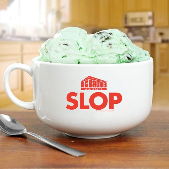 Big Brother All Stars Logo Slop Bowl filled with ice cream