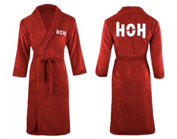 Long red bathrobe with HOH embroidered on the front and back