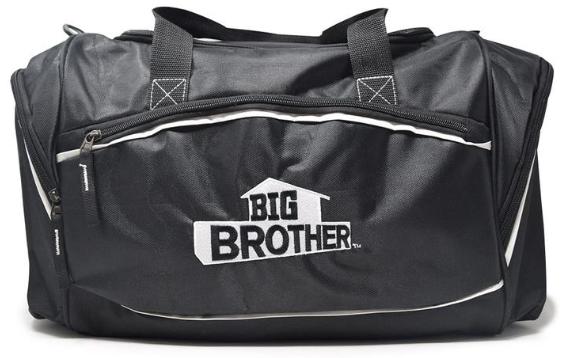 Black duffel bag with Big Brother logo