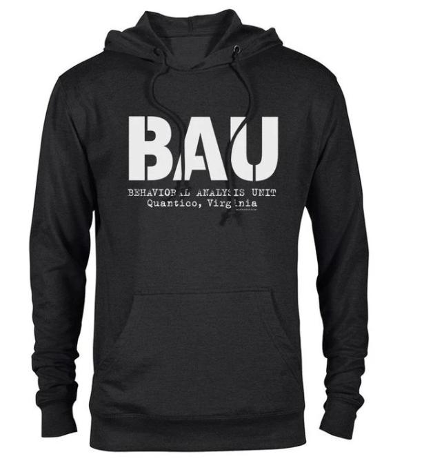 Black hoodie with Criminal Minds BAU logo on the front