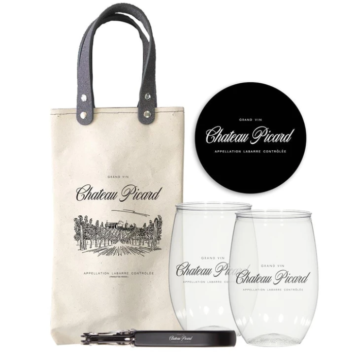Chateau Picard tote bag with wine glasses and corkscrew