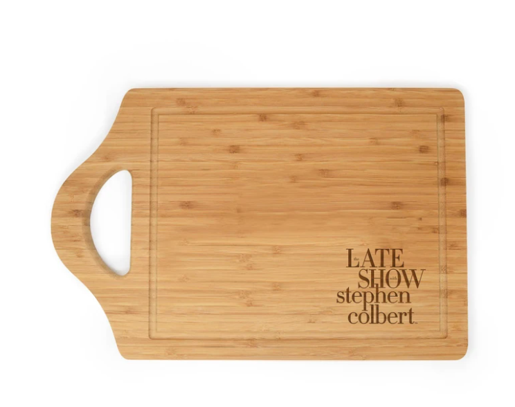 Bamboo Cutting Board engraved with logo of The Late Show with Stephen Colbert