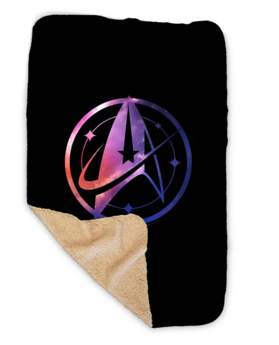 Star Trek Discovery sherpa blanket with Universe logo