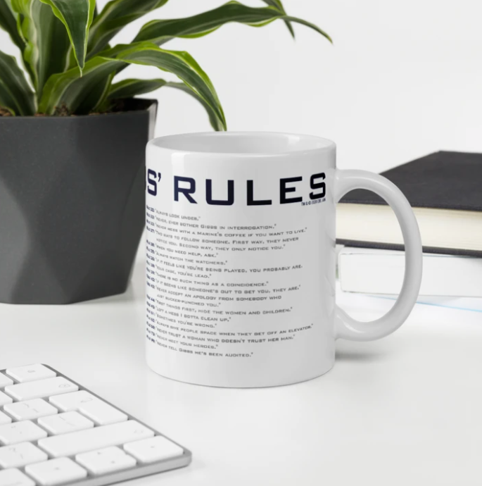 White coffee mug with list of Special Agent Gibbs Rules from NCIS