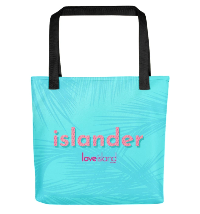 Turquoise tote bag emblazoned with Love Island logo